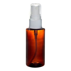 Plastic Cylinder Bottle in Amber with White Fine Mist Spray - 1.7 oz / 50 ml