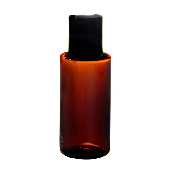 Plastic Cylinder Bottle in Amber with Black Disc Cap - 1.7 oz / 50 ml