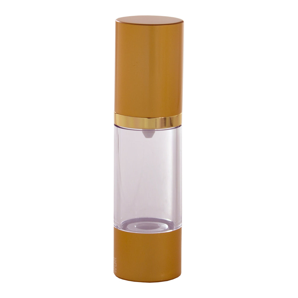 Gold Airless Pump Bottle Refillable Container - 1 oz + Travel Bag