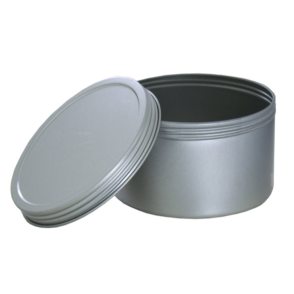16 oz Silver Deep Metal Tin Containers with Screwtop Twist Lid + Labels