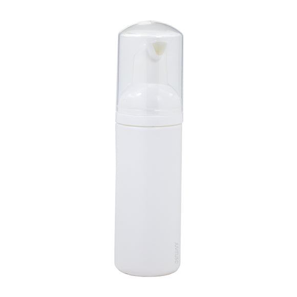 White Plastic Foaming Bottle with White Foam Pump Dispenser - 1.7 oz / 50 ml Travel Bag