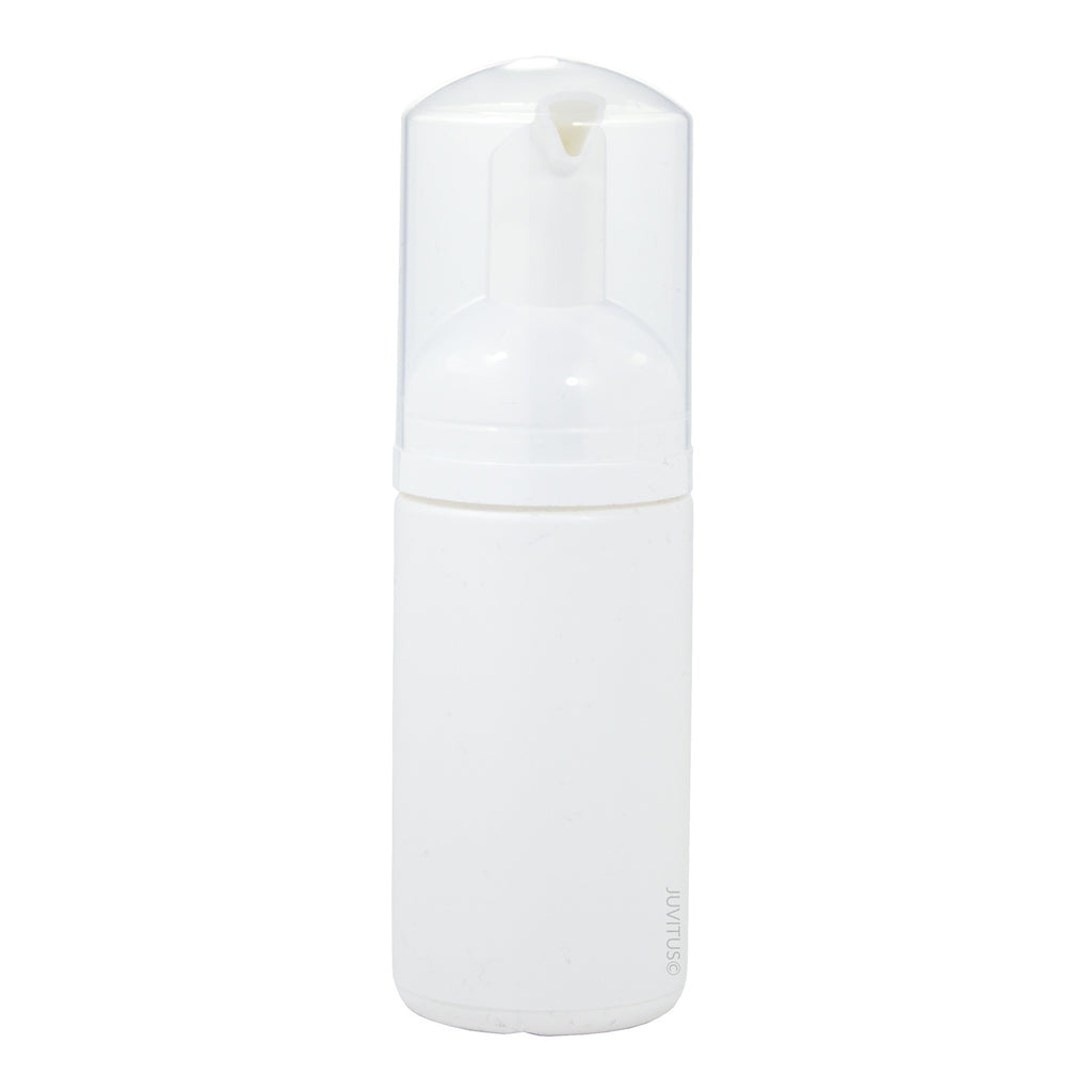 White PET BPA Free Plastic Refillable Travel Foamer Pump Bottle - 100 ml / 3.4 oz + Clear Travel Bag