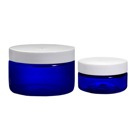 Cobalt Blue PET Plastic Heavy Thick Wall Jar Combo Set - 2 oz and 4 oz  with White Foam Lined Lids + Spatulas and Labels