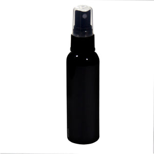Black Plastic Slim Cosmo Bottle with Black Fine Mist Spray - 2 oz / 60 ml