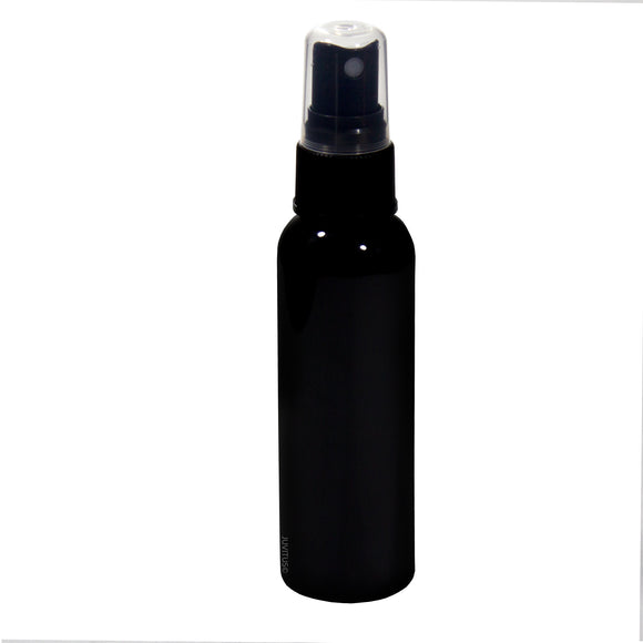 Plastic Slim Cosmo Bottle in Black with Black Fine Mist Spray - 2 oz / 60 ml