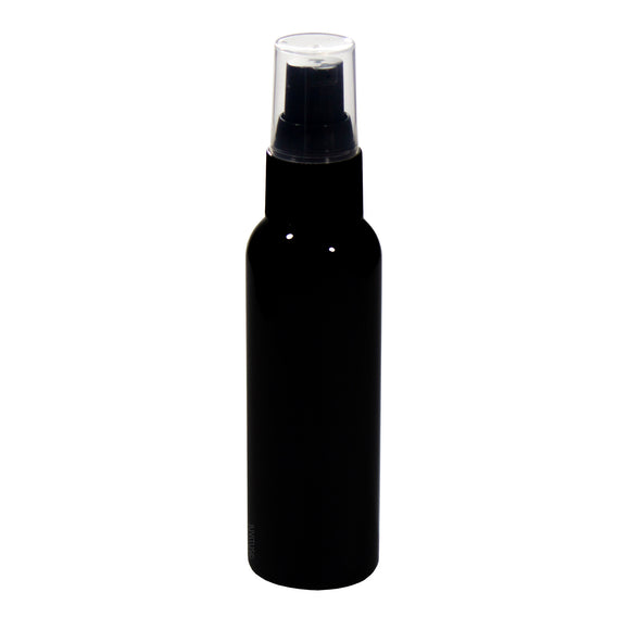 Black Plastic Slim Cosmo Bottle with Black Treatment Pump - 2 oz / 60 ml