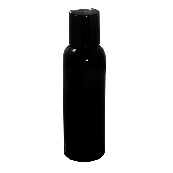 Black Plastic Slim Cosmo Bottle with Black Disc Cap - 2 oz / 60 ml