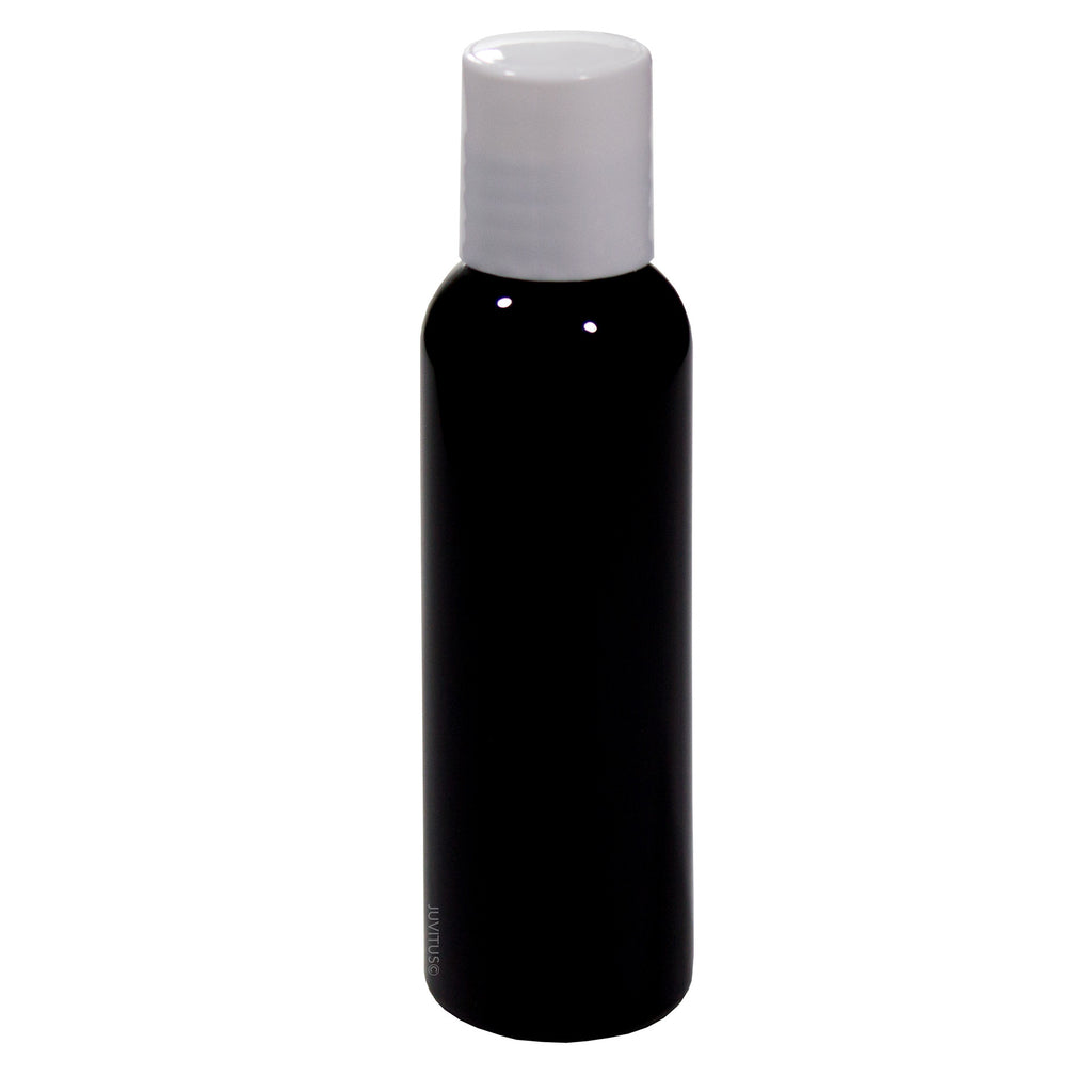 Black 2 oz Slim Cosmo Round PET (BPA Free) Plastic Bottle with White Disc Cap Lid + Label