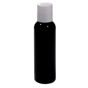 Plastic Slim Cosmo Bottle in Black with White Disc Cap - 2 oz / 60 ml