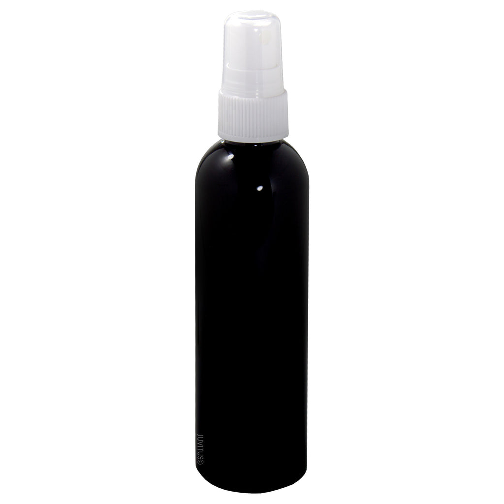Black 4 oz Slim Cosmo Round PET (BPA Free) Plastic Bottle with White Fine Mist Sprayer + Labels