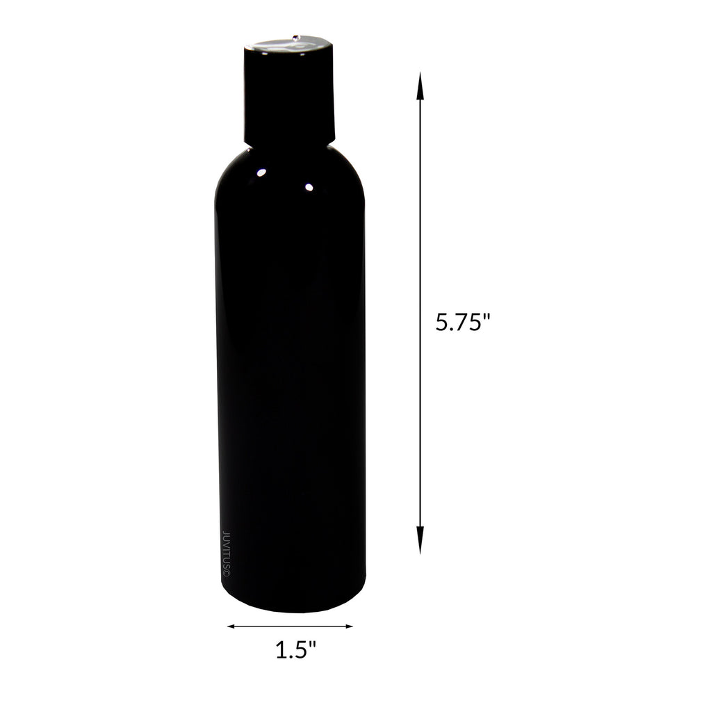 Black 4 oz Slim Cosmo Round PET (BPA Free) Plastic Bottle with Black Disc Cap + Labels