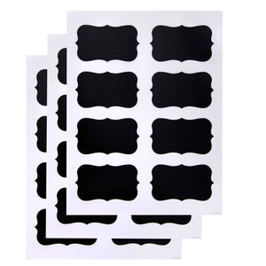 Black Decorative Labels for Chalk Pen (3 Sheets)