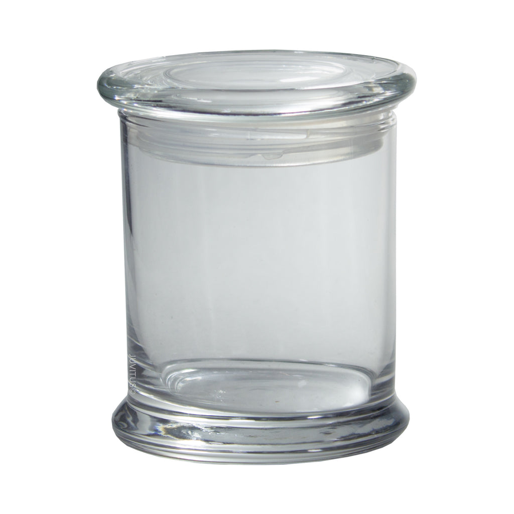 Clear Candle Glass Jar with Airtight Glass Cover Lid 12.5 oz Medium size + Labels