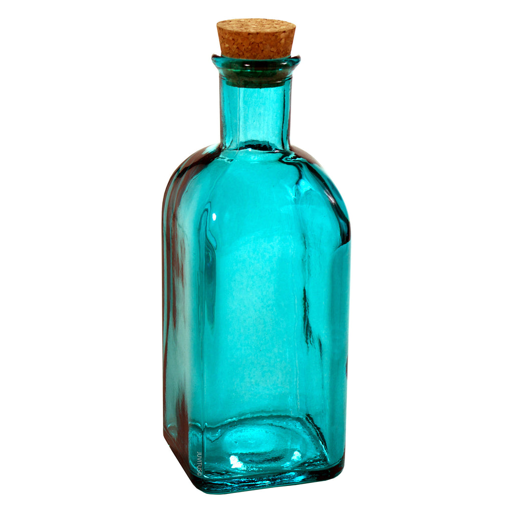 Blue Spanish Thick Recycled Glass Bottle with Natural Cork Top - 17 oz / 500 ml + Label