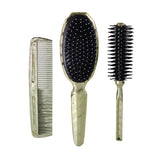 Gold Color 3 piece Hair Brush and Comb Set