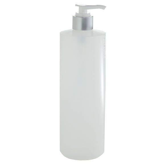 Plastic Squeeze Bottle in Natural Clear with Silver Lotion Pump - 16 oz / 500 ml