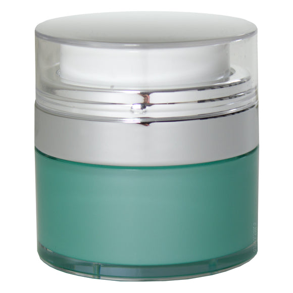 Teal Blue Airless Refillable Jar 1 oz / 30 ml + Labels - keeps out bacteria and air changing oxidation from your skin care products - durable, leak proof, and shatterproof for home or travel