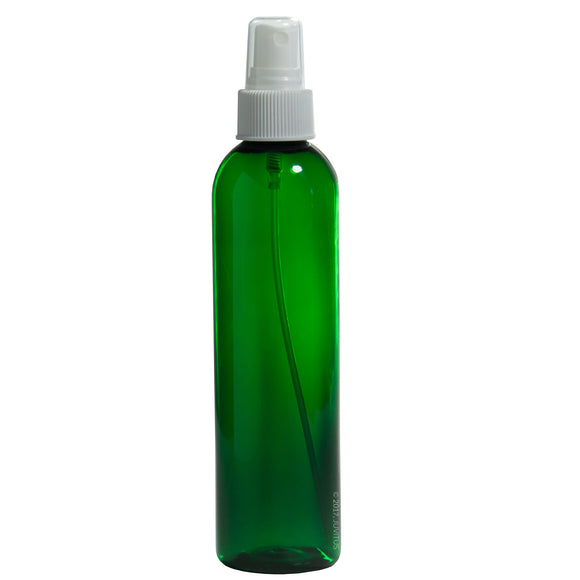 Green Plastic Slim Cosmo Bottle with White Fine Mist Spray - 8 oz / 250 ml