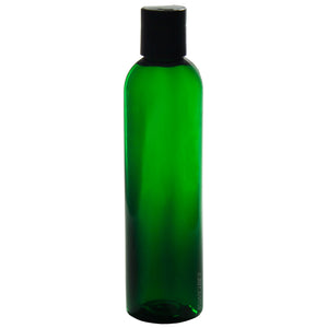 Green Plastic Slim Cosmo Bottle with Black Disc Cap - 8 oz / 250 ml