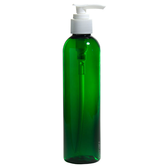 Green Plastic Slim Cosmo Bottle with White Lotion Pump - 8 oz / 250 ml