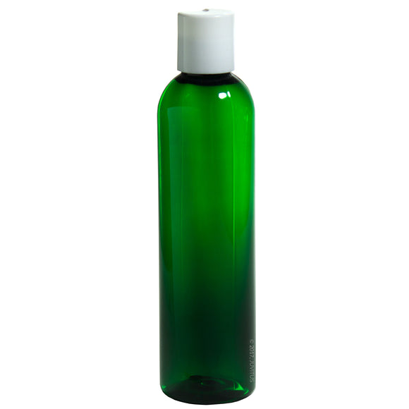 Green Plastic Slim Cosmo Bottle with White Disc Cap - 8 oz / 250 ml