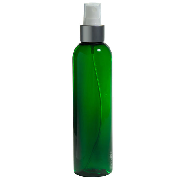 Green Plastic Slim Cosmo Bottle with Silver and White Fine Mist Spray - 8 oz / 250 ml