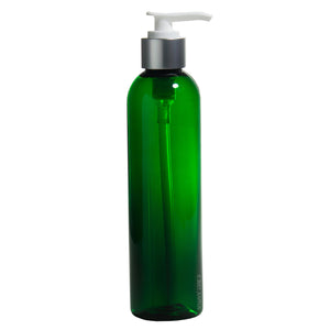 Plastic Slim Cosmo Bottle in Green with Silver and White Lotion Pump - 8 oz / 250 ml