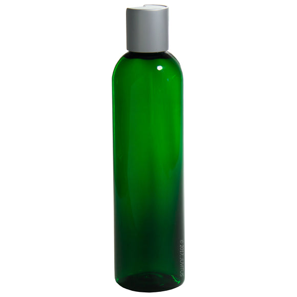 Green Plastic Slim Cosmo Bottle with Silver Disc Cap - 8 oz / 250 ml