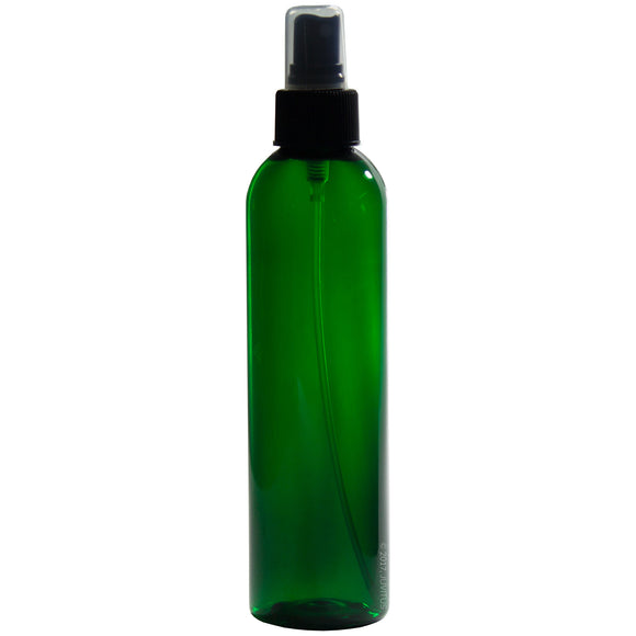 Green Plastic Slim Cosmo Bottle with Black Fine Mist Spray - 8 oz / 250 ml