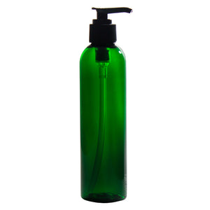 Green Plastic Slim Cosmo Bottle with Black Lotion Pump - 8 oz / 250 ml