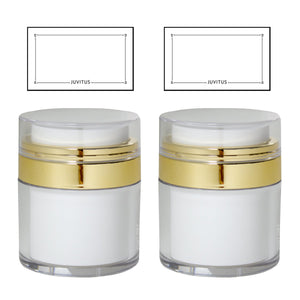Refillable Airless Jar in White and Gold - 1.7 oz / 50 ml