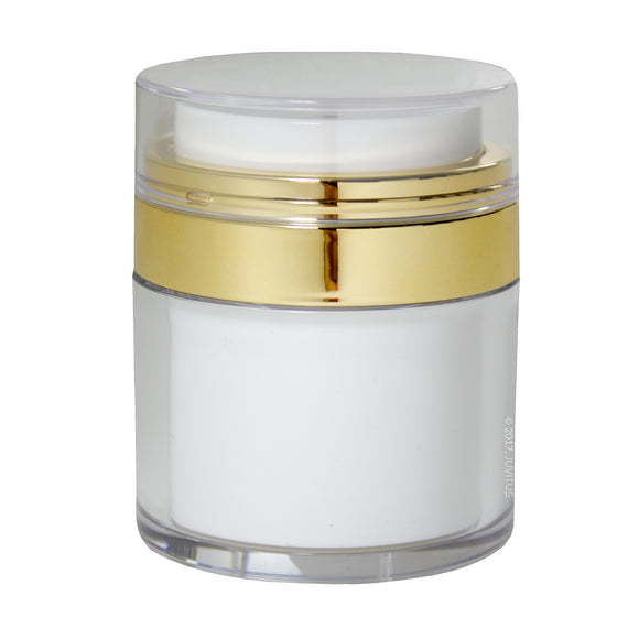 White and Gold Airless Refillable Jar 1.7 oz / 50 ml - keeps out bacteria and air changing oxidation from your skin care products - durable, leak proof, and shatterproof for home or travel