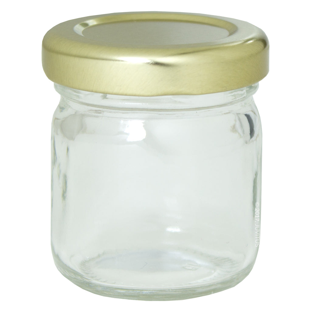 1.25 oz Clear Thick Wall Glass Jar with Gold Metal Lined Lid + Label
