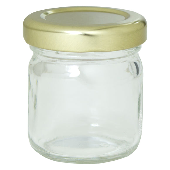 Glass Canning Jar in Clear with Gold Metal Plastisol Lid -  1.25 oz / 37 ml