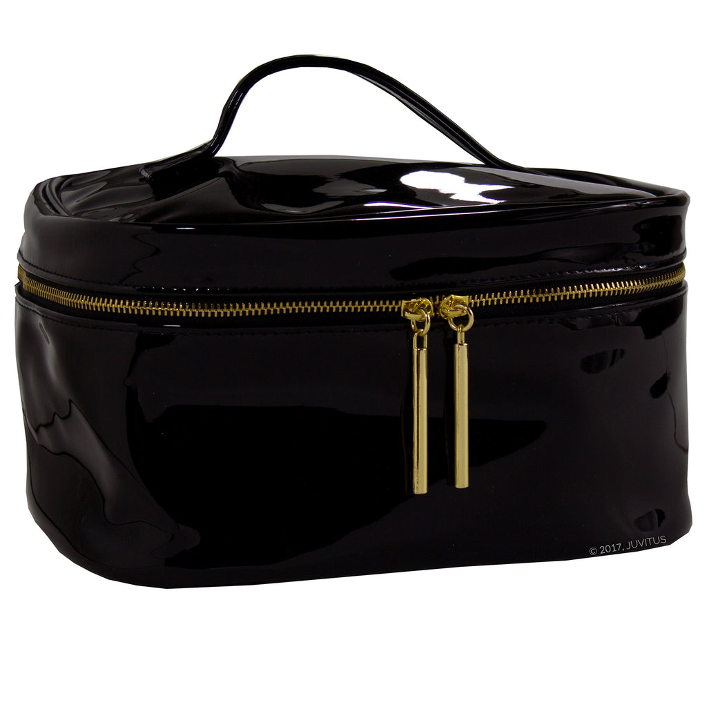 Black Patent Makeup Bag for Travel & Storage, Made of Vegan Leather