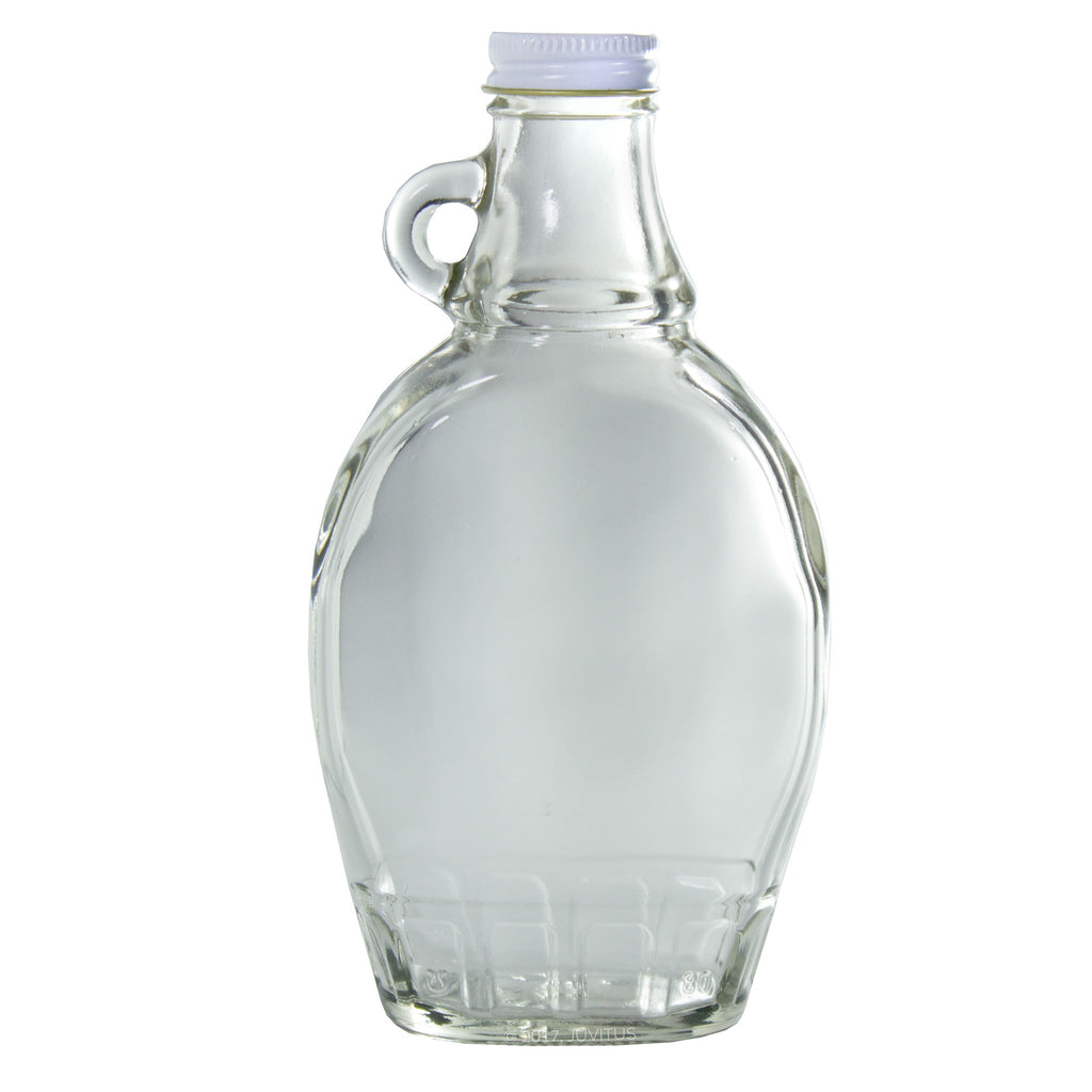 8 oz Clear Glass Syrup Bottle with Airtight White Metal Lid + Labels
