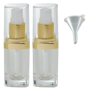 Clear Plastic Acrylic Foundation Bottle with Gold Treatment Pump - .5 oz / 15 ml Funnel