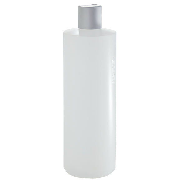 Plastic Squeeze Bottle in Natural Clear with Silver Disc Cap - 16 oz / 500 ml