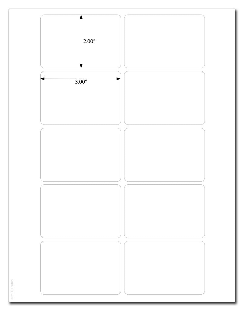 "Waterproof White Matte 3"" x 2"" Rectangle Labels for Laser Printers with Downloadable Template and Printing Instructions, 5 Sheets, 50 Labels (R32)"