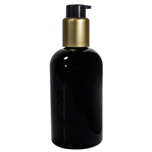 Plastic Boston Round Bottle in Black with Gold and Black Treatment Pump - 8 oz / 250 ml