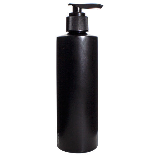 Plastic Cylinder Bottle in Black with Black Lotion Pump - 8 oz / 250 ml