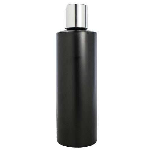 Plastic Cylinder Bottle in Black with Silver Smooth Disc Cap - 8 oz / 250 ml