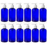 Cobalt Blue Plastic Boston Round Lotion Bottle with White Pump - 8 oz / 250 ml
