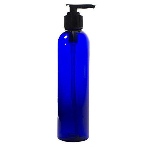 Plastic Slim Cosmo Bottle in Cobalt Blue with Black Lotion Pump - 8 oz / 250 ml