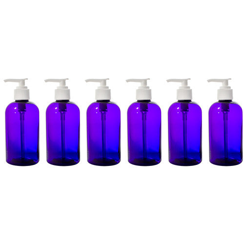 Purple Boston Round PET Bottles (BPA Free) with White Lotion Pump - 8 oz + Labels