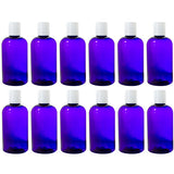 Purple Plastic Boston Round Bottle with White Disc Cap - 8 oz / 250 ml - JUVITUS