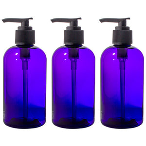 Plastic Boston Round Bottle in Purple with Black Lotion Pump - 8 oz / 250 ml