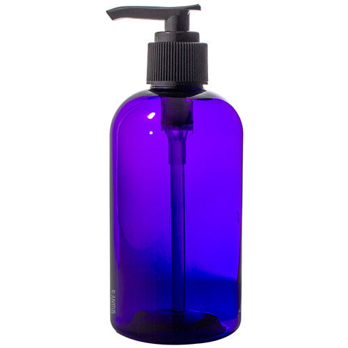 Purple Plastic Boston Round Lotion Bottle with Black Pump - 8 oz / 250 ml