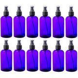 Purple Boston Round PET Bottles (BPA Free) with Treatment Pump - 8 oz + Labels