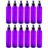 Purple Plastic Slim Cosmo Bottle with Black Fine Mist Spray - 8 oz / 250 ml